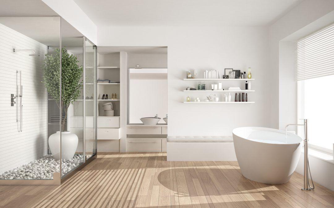 3 voorbeelden van een houten vloer in de badkamer